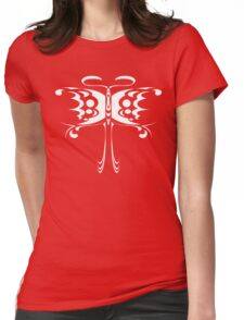 Psychedelic Butterfly (White) Womens Fitted T-Shirt