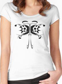 Psychedelic Butterfly (Black) Women's Fitted Scoop T-Shirt