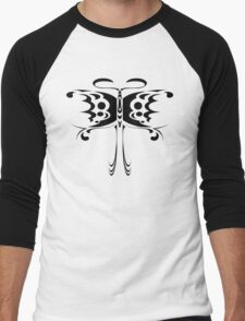 Psychedelic Butterfly (Black) Men's Baseball ¾ T-Shirt