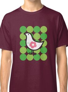 Retro Flower Daisy Chick On Green Dots Classic T-Shirt