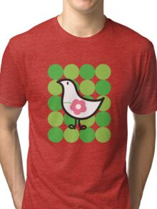 Retro Flower Daisy Chick On Green Dots Tri-blend T-Shirt