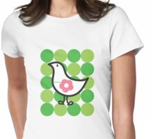 Retro Flower Daisy Chick On Green Dots Womens Fitted T-Shirt