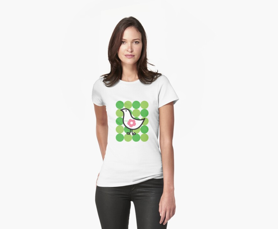 Retro Flower Daisy Chick On Green Dots by fatfatin