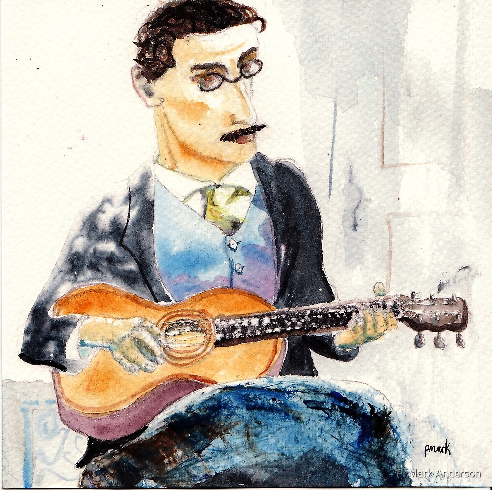 James Joyce Playing Guitar by P. Mark Anderson