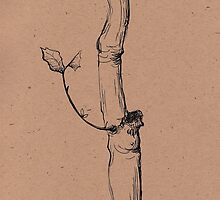 Winter Tree - original ink pen sketch on paper by Rebecca Rees