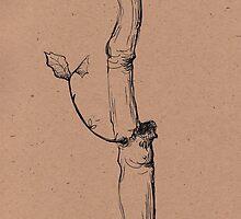 Winter Tree - original ink pen sketch on paper by Rebecca Rees