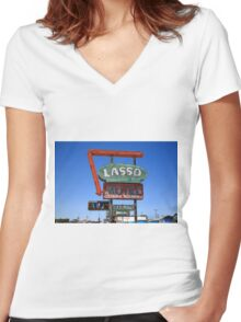 Route 66 - Lasso Motel Women's Fitted V-Neck T-Shirt