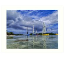 Sailing at Muri Beach Art Print