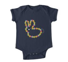 Colorful Jigsaw Baby Bunny with White Nose One Piece - Short Sleeve