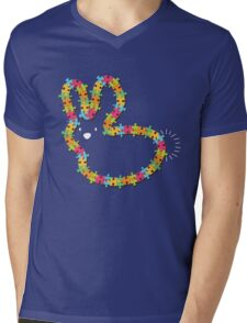 Colorful Jigsaw Baby Bunny with White Nose Mens V-Neck T-Shirt