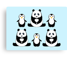 PANDAS & PENGUINS Canvas Print