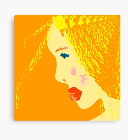 Sunny blonde girl in a water paint Canvas Print