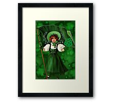 GATHERING SHAMROCKS IN A FROCK ALL MADE OF GREEN -SAINT PARTICKS DAY PILLOW,TOTEBAG- PICTURE AND OR CARD Framed Print