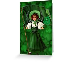 GATHERING SHAMROCKS IN A FROCK ALL MADE OF GREEN -SAINT PARTICKS DAY PILLOW,TOTEBAG- PICTURE AND OR CARD Greeting Card