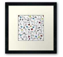 Usual life sketch seamless pattern. Framed Print