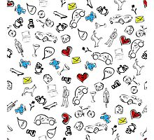 Usual life sketch seamless pattern. Photographic Print