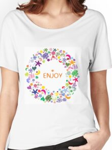 Abstract round floral pattern Women's Relaxed Fit T-Shirt