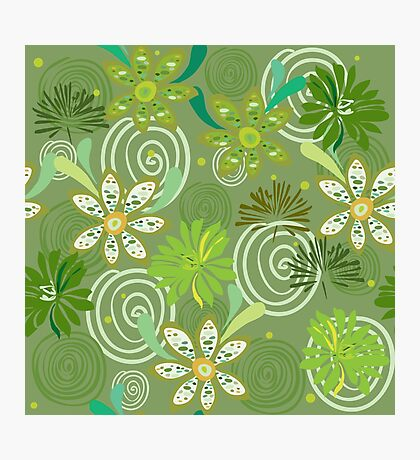 Seamless swirly green floral pattern Photographic Print