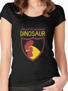 Honest-To-Goodness Dinosaur: Rooster (on dark background) Women's Fitted Scoop T-Shirt