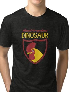 Honest-To-Goodness Dinosaur: Rooster (on dark background) Tri-blend T-Shirt