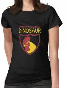 Honest-To-Goodness Dinosaur: Rooster (on dark background) Womens Fitted T-Shirt