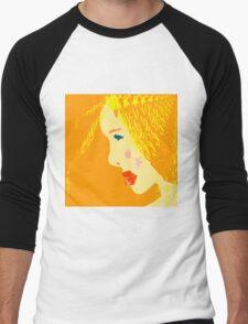 Sunny blonde girl in a water paint Men's Baseball ¾ T-Shirt