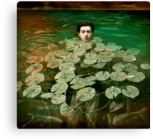 Brown was saved by a passing clump of waterlilies. Canvas Print