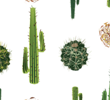 Cacti and tumbleweed seamless pattern Sticker