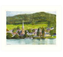 The village of Einruhr in a forest of western Germany Art Print