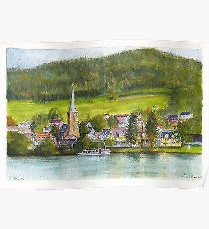 The village of Einruhr in a forest of western Germany Poster
