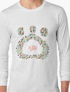 Paw shapped coloreful cats pattern Long Sleeve T-Shirt