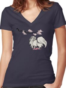 Beneath Cherry Blossoms [Transparent] Women's Fitted V-Neck T-Shirt