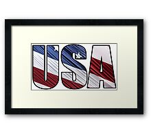 USA in Red White and Blue American Patriotic Flag Framed Print