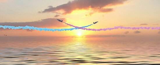 The Red Arrows Cross at Sunrise by Colin J Williams Photography