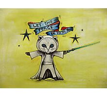 the force star kitty lightsaber  Photographic Print