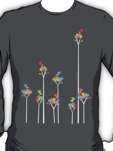 Tweeting Birds (White on Dark) T-Shirt