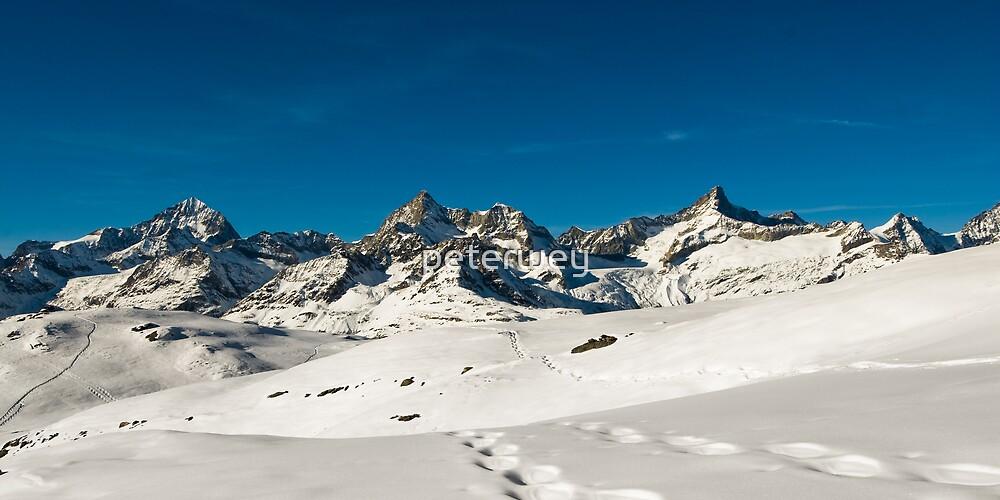 Panoramic view in winter above Zermatt by peterwey