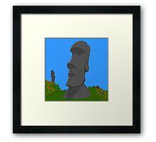 Pixel Moai Framed Print