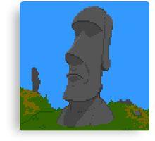 Pixel Moai Canvas Print