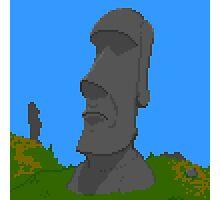 Pixel Moai Photographic Print