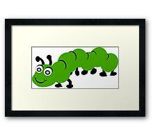 Green Caterpillar Design Framed Print