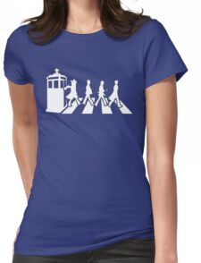 Tardis Road - White Womens Fitted T-Shirt