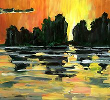 Sunset on Jalisco Jungle River by Randy Sprout