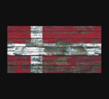 Flag of Denmark on Rough Wood Boards Effect Kids Tee