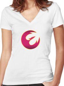 Rebel Phoenix Crest Women's Fitted V-Neck T-Shirt