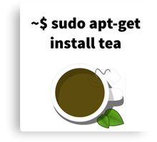 Linux sudo apt-get install tea Canvas Print