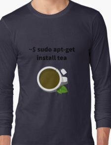 Linux sudo apt-get install tea Long Sleeve T-Shirt