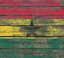 Flag of Ghana on Rough Wood Boards Effect by Jeff Bartels