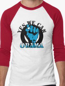 obama : blue blooded fist Men's Baseball ¾ T-Shirt