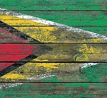 Flag of Guyana on Rough Wood Boards Effect by Jeff Bartels